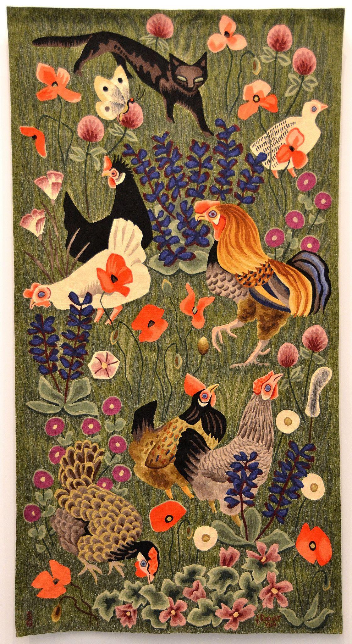 Tapisserie de dom robert le chat noir carton de 1969 - Galerie nationale de la tapisserie beauvais ...