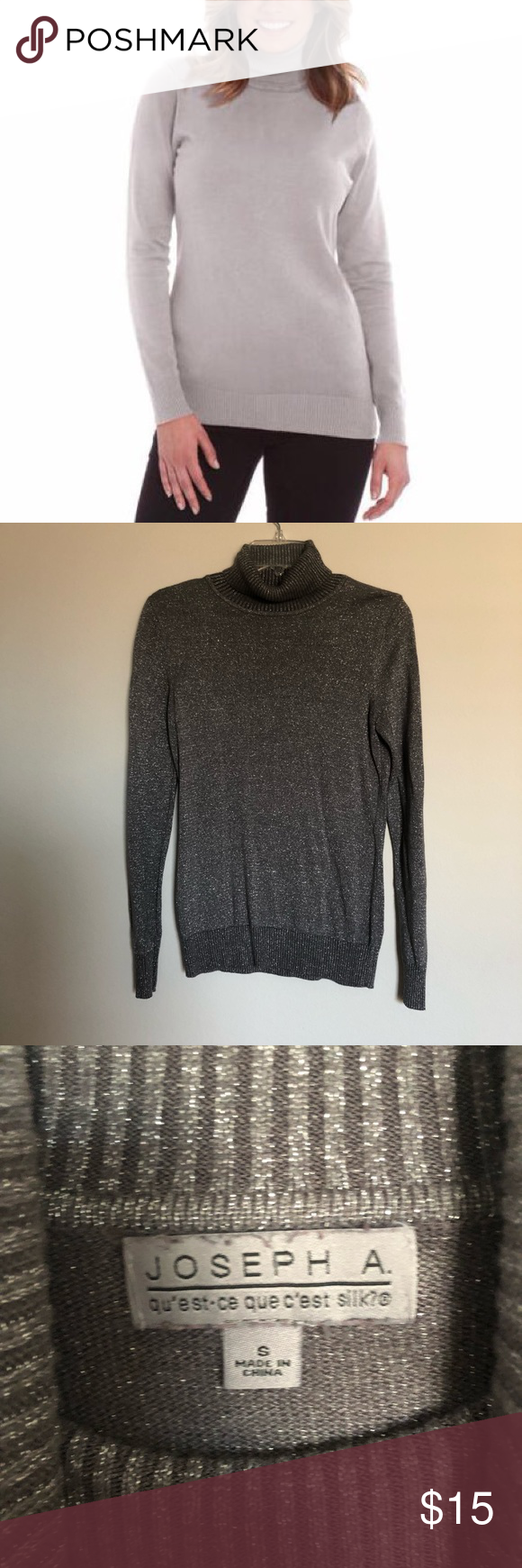 c460d295130d  Joseph A  silver gray turtle neck sweater Excellent condition Color  sparkling silver gray The actual photo of the item shows the most close  color Size S ...