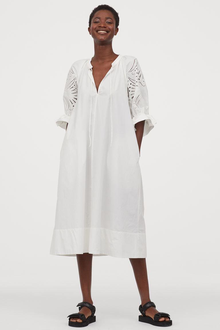 Puff Sleeved Cotton Dress Cream Ladies H M Us Cotton Dresses A Line Dress Cream Dress [ 1152 x 768 Pixel ]