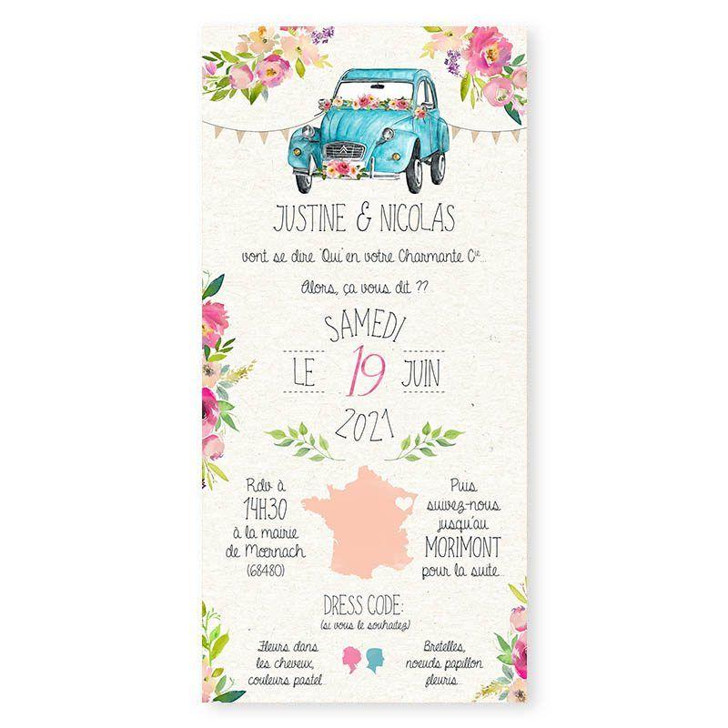 Faire Part Mariage 2cv Citroen Pastel Fleurs Creatif Chic Fairepart Mariage 2cv Citroen Fleurs Vin Faire Part Mariage Faire Part Mariage Unique Mariage