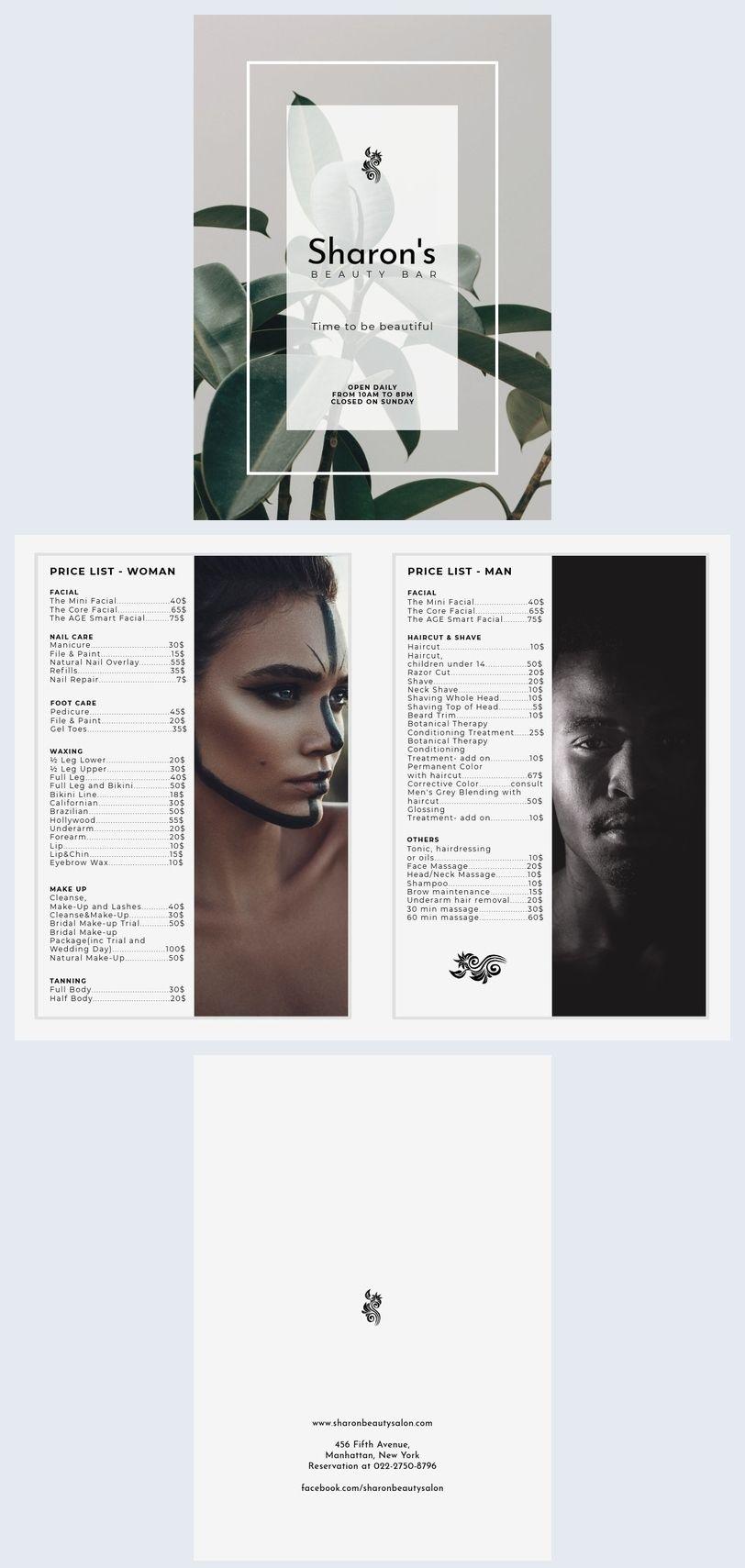flhair & beauty CFold pricelist brochure Hair