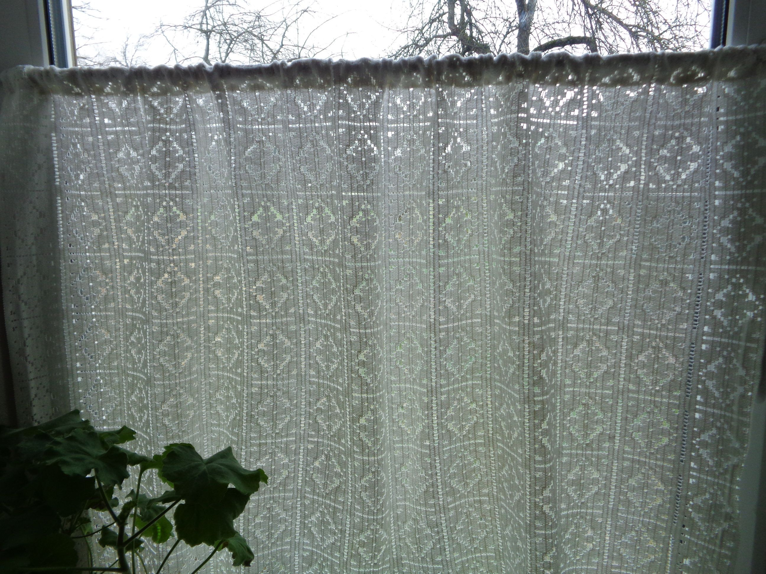 Vintage Lace Curtain H25 X W45 Off White Lace Fabric Curtain