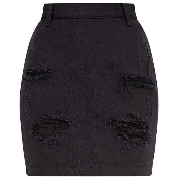 b3f843f8ac Roschian Super Distress Black High Waisted Denim Mini Skirt ($33) ❤ liked  on Polyvore featuring skirts, mini skirts, bottoms, high waist skirt, ...