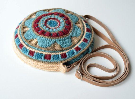 Crocheted Mandala Bag Round Purse Cross Body Crocheted Round Bag