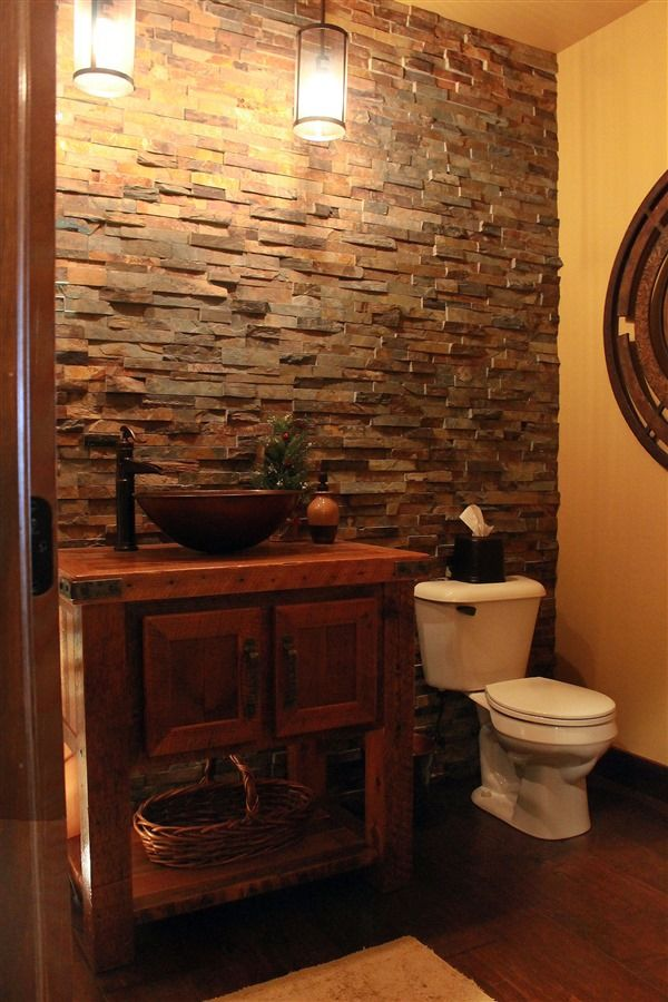 Rustic, Reclaimed Barnwood Bathroom Vanity With Copper Vessel Sink. Stone  Floor To Ceiling Tile. We Are A High End Furniture Store U0026 Have A Talented  Staff ...