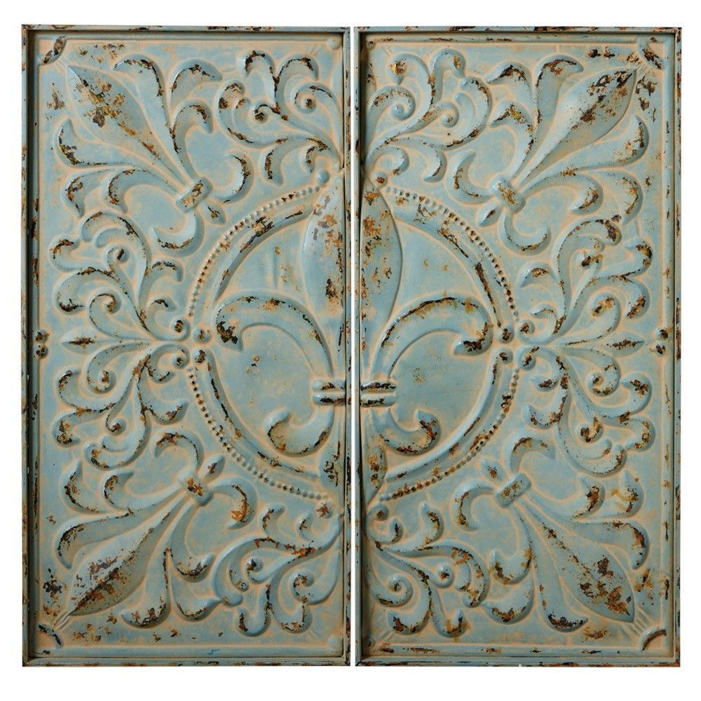 Victory distressed fleur de lis two panel wall décor products
