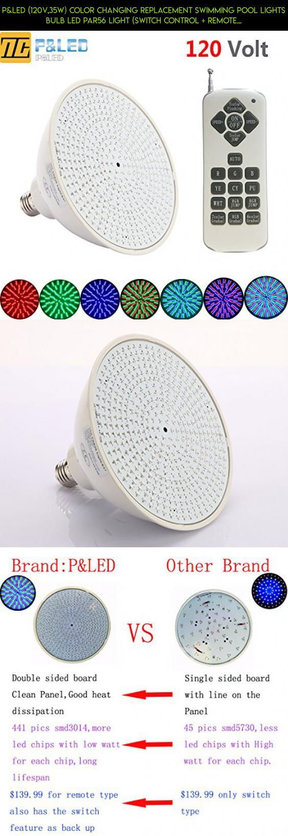 P Led 120v 35w Color Changing Replacement Swimming Pool Lights Bulb Led Par56 Light Switch Control Remote Swimming Pool Lights Pool Lights Swimming Pools