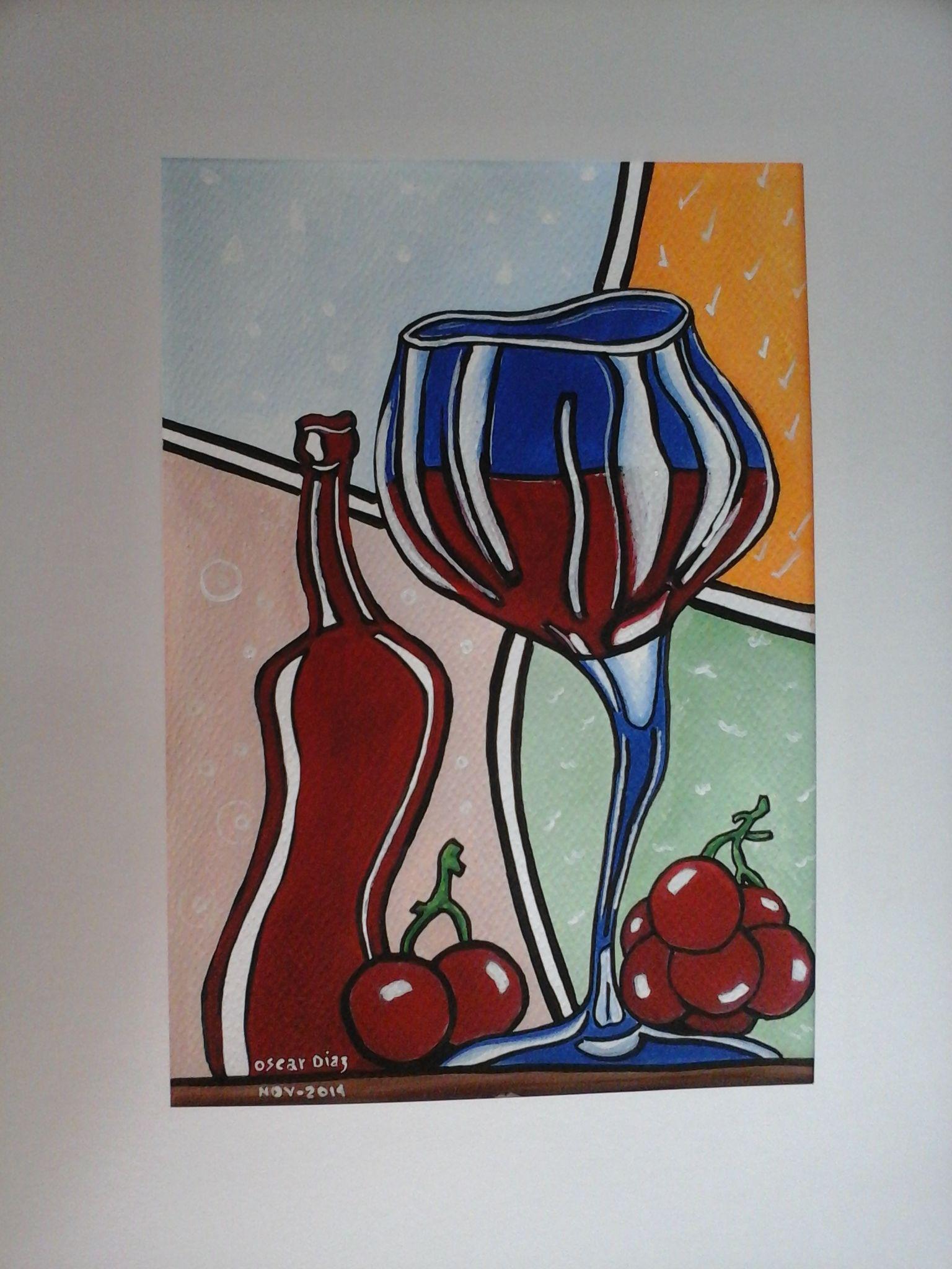 vino y copa - arte pop-acrilico