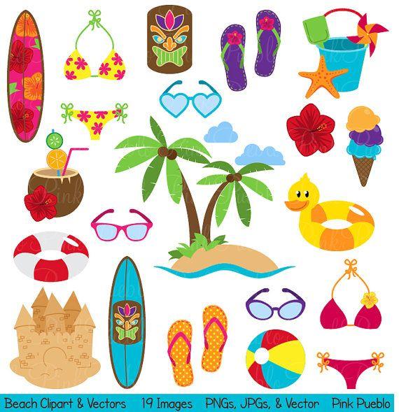 Beach Clipart Clip Art Summer Vacation Travel By PinkPueblo