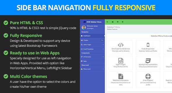 Responsive Bootstrap Sidebar Navigation | Web Design | Html