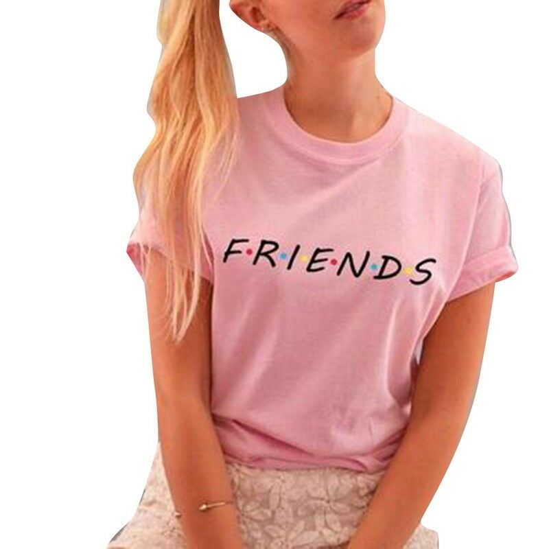 Fashion Women friends Print T Shirt Short Sleeve Summer Crewneck Tops Casual Tee