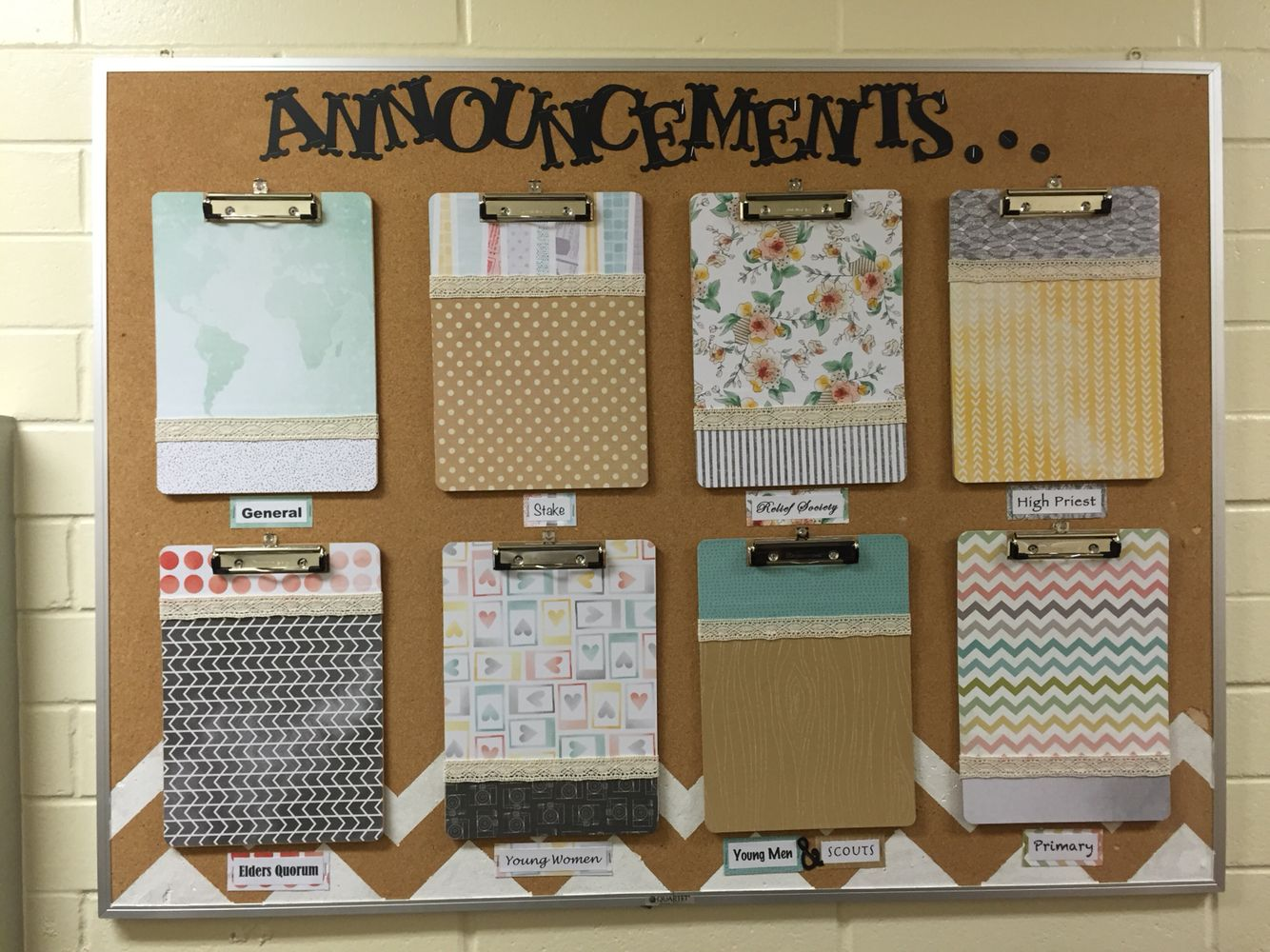 Superior Lds Church Bulletin Board. Church Announcements. Neat And Organized!