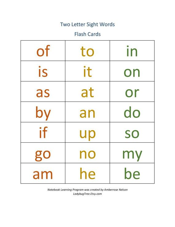 Two Letter Sight Word Workbook Worksheets For By Ladybugtree Two