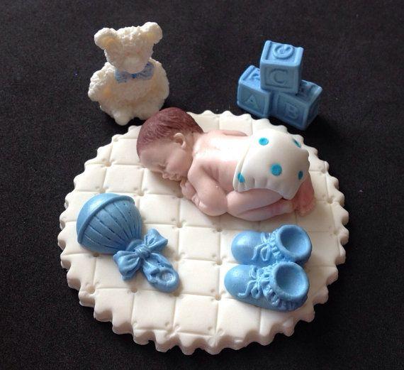 Fondant baby boy on white blanket cake topper for Baby Shower