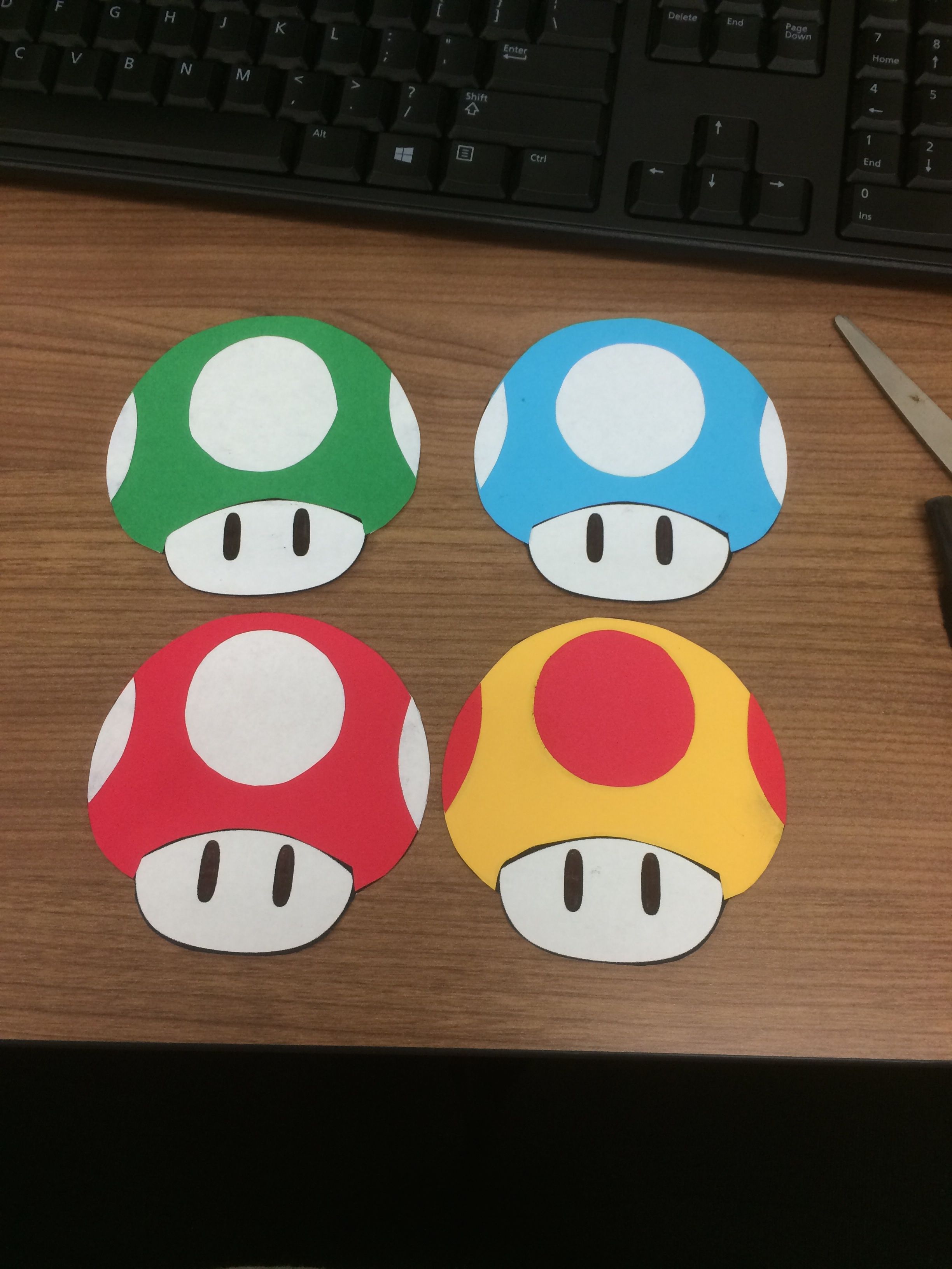 September Door Decs To Go With Mario Board I Printed The Mushrooms Out On White Paper And Then Traced And Gl Door Decs Door Decs College Dorm Door Decorations