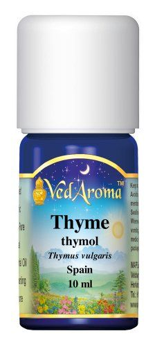 VedAroma Thyme, thymol Therapeutic Grade Essential Oil 10 ml; Stimulating, purifying, energizing; supports respiratory health; immune stimulant; remedy against numerous infections; Click here to order on  http://www.amazon.com/dp/B00HMD9IJ2/ref=cm_sw_r_pi_dp_ZrOXtb00ZD6QTC18