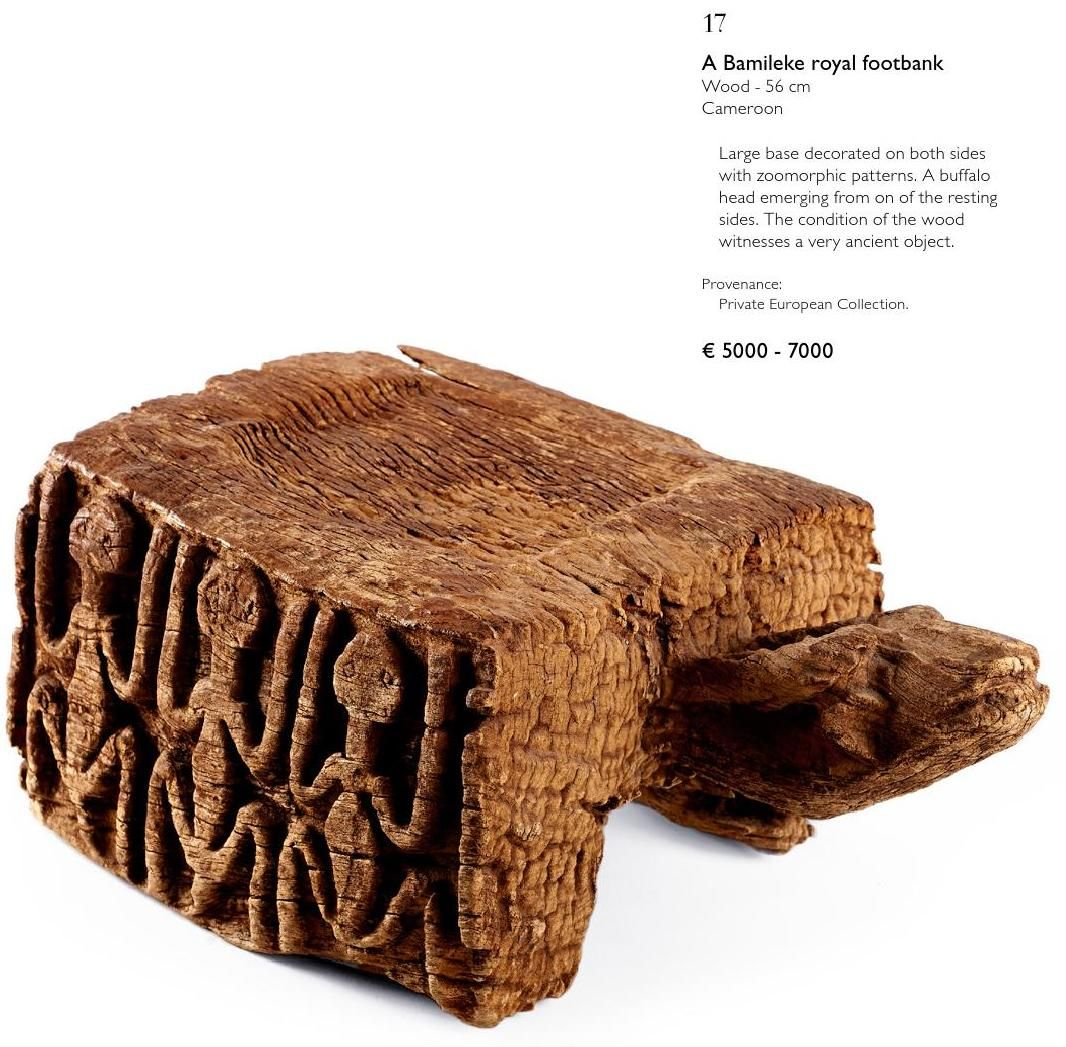 Bamileke footbank from Native Auction catalogue January 2015
