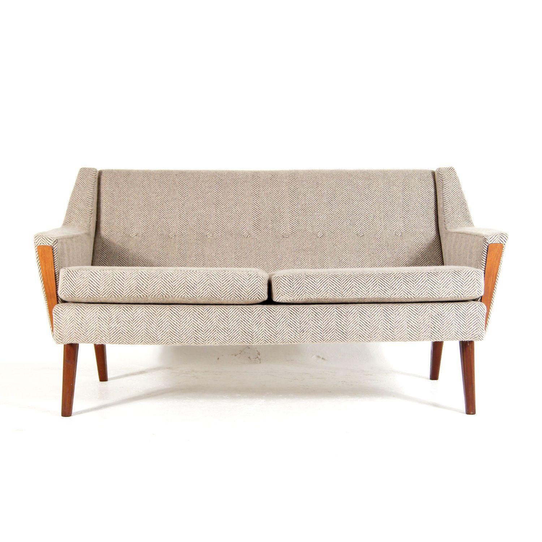 Retro Vintage Danish Teak & Wool 2 Love Seat Seater Sofa 1950s 60s