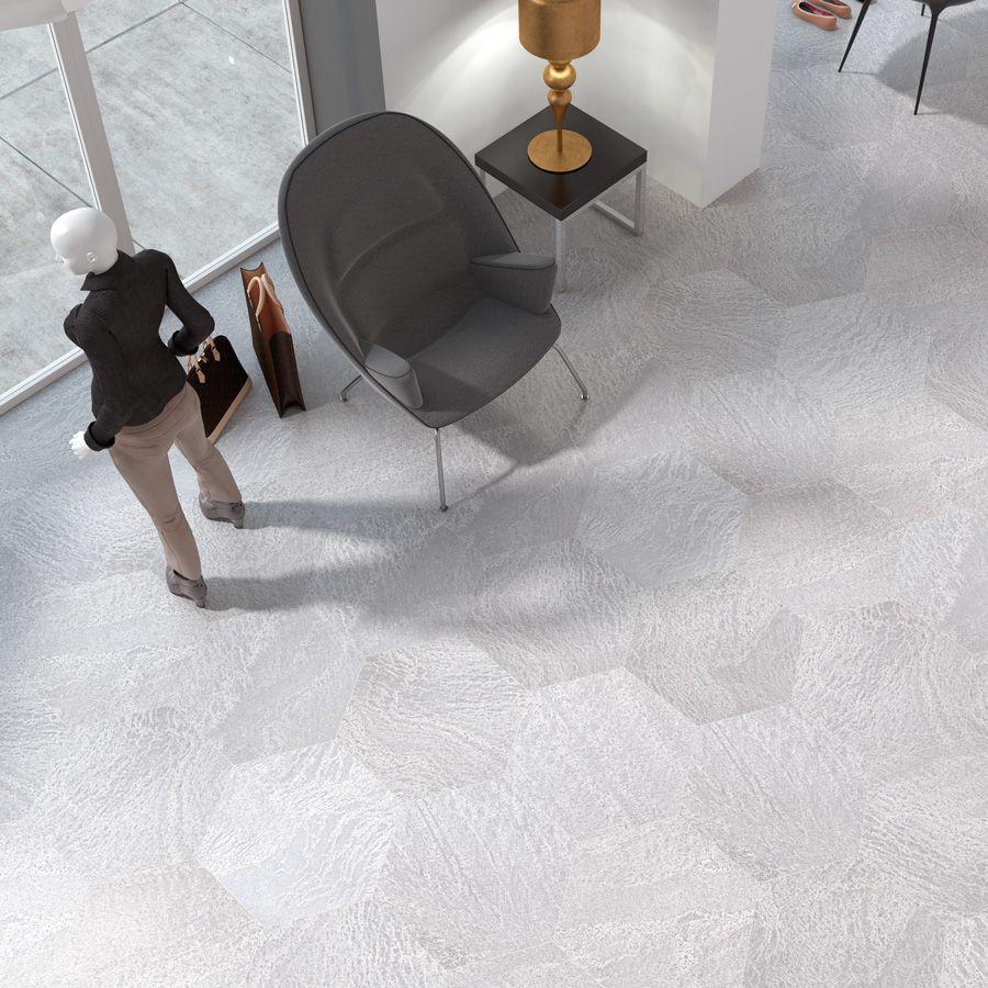 Baldosa de gres porcel nico para pavimento medida for Pavimento ceramico hexagonal