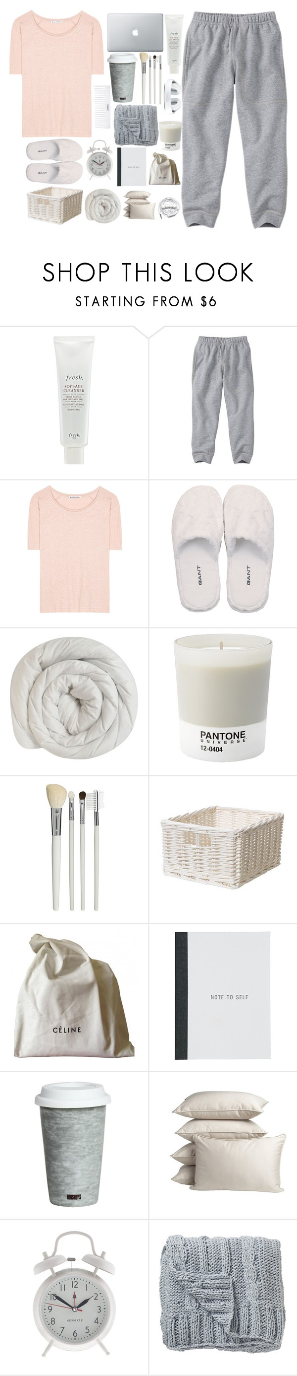 """""""Sleep with me anyways"""" by anam53046 ❤ liked on Polyvore featuring Fresh, Burt's Bees, Acne Studios, GANT, Pantone, Cath Kidston, CÉLINE, Fitz & Floyd, PBteen and J.Crew"""