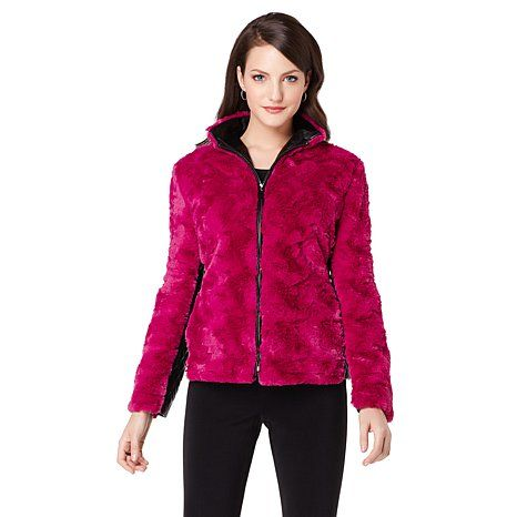 A by Adrienne Landau Faux Fur Jacket with Faux Leather Trim, at HSN.com. Own the hot pink fur! Love it! It has quilted leather in black under the arms!!