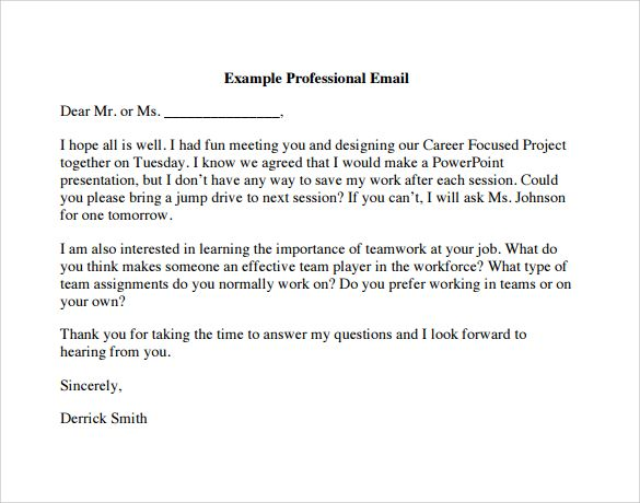Professional Email Examples With Images Mail Template