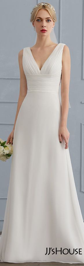 JJsHouse A-Line/Princess V-neck Sweep Train Chiffon Wedding Dress With Ruffle