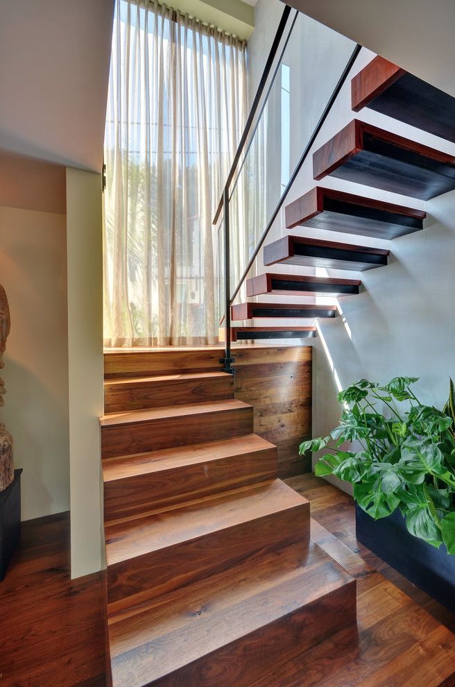 Contemporary Staircase With Landing And Windows Google Search