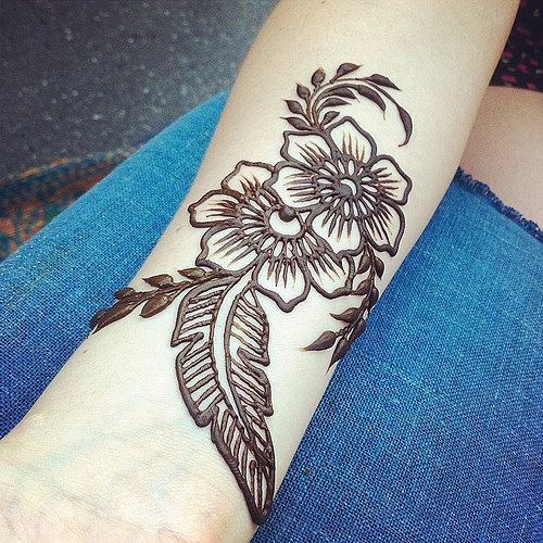 Feather Henna Tattoo Designs: Feather Floral Henna