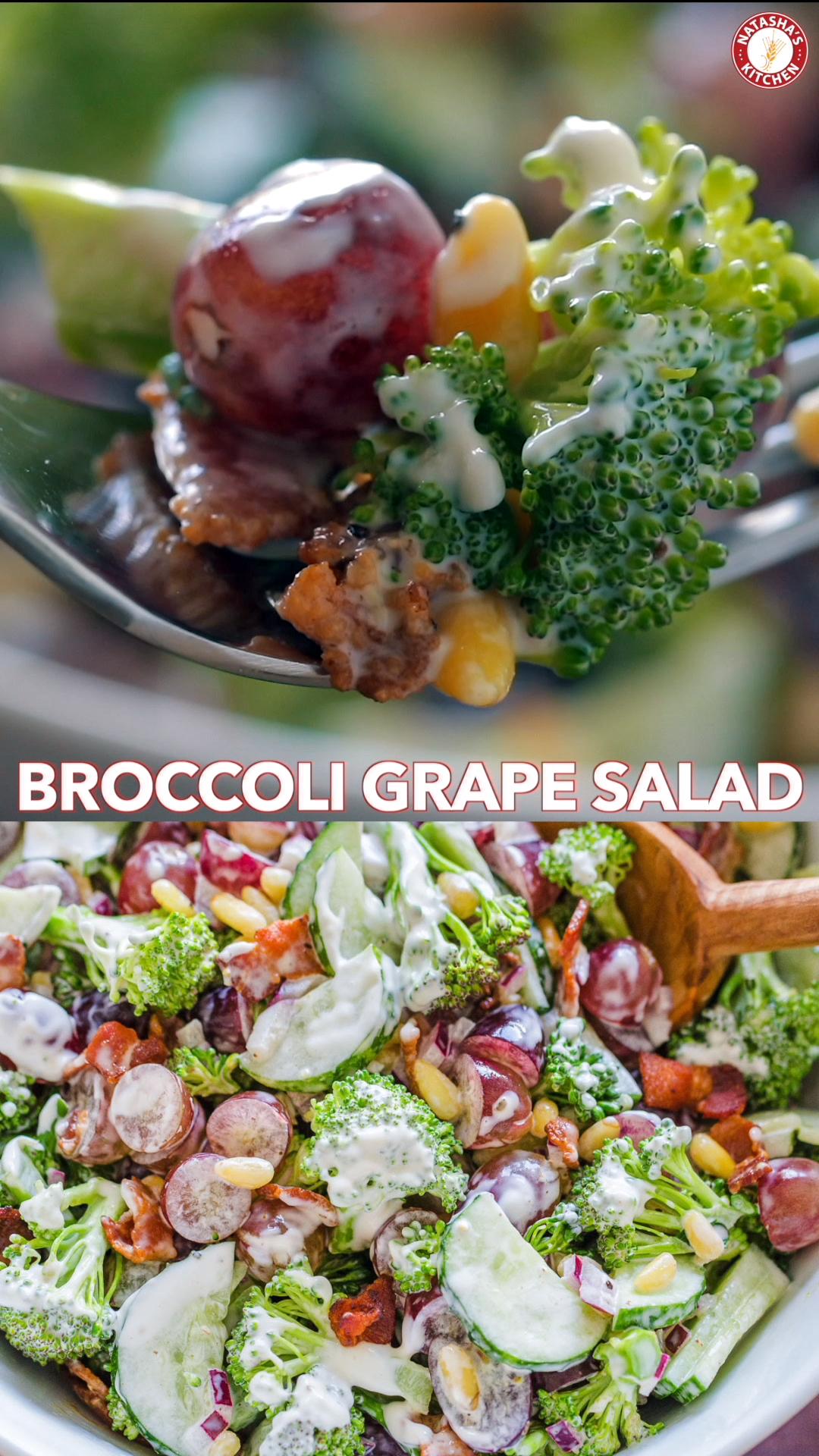 Broccoli Grape Salad (VIDEO) - NatashasKitchen.com