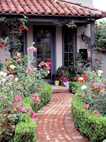 Front Yard Rose Garden Plan House Paint Exterior Mediterranean