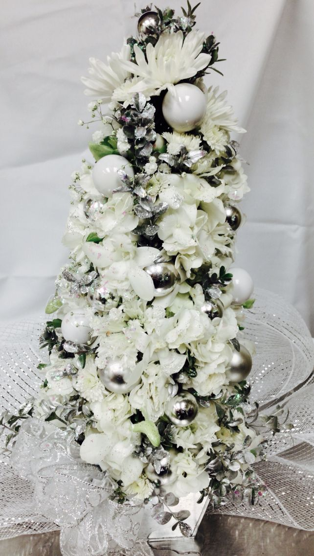 Fresh Floral Tree Created With White Orchids Ranunculus White Hydrangea Blossoms Snowflake Chrysanthemums Hydrangea Blossoms White Orchids White Hydrangea