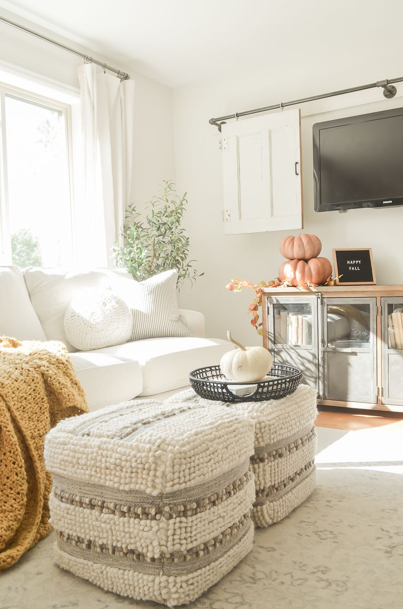 Today on the blog I'm sharing a cozy fall living room update plus our new new Arhaus sofa! #sarahjoyblog #falldecor #cozydecor