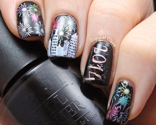 happy year 2014 nail art