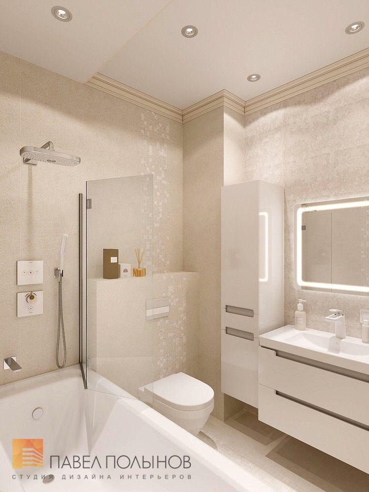 Фото дизайн ванной комнаты из проекта «Дизайн однокомнатной квартиры 48 кв.м. в классическом стиле, ЖК «Жемчужный фрегат» »