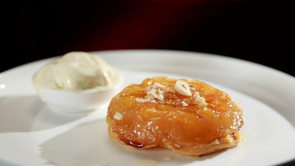Bree & Jessica's Peach & Apricot Tarte Tatin with Cinnamon Ice Cream | My Kitchen Rules #kitchenrules
