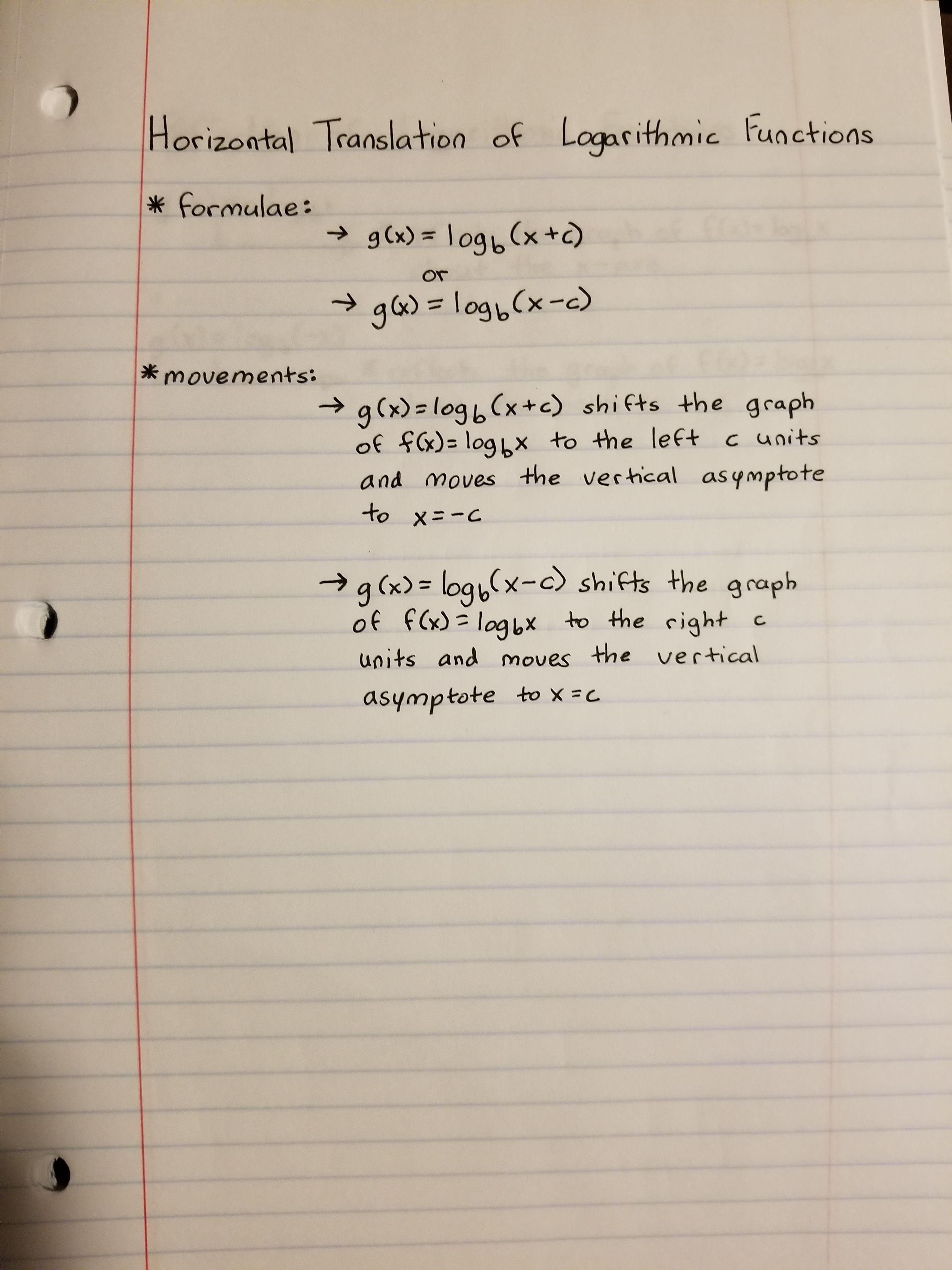 Horizontal Translation Of Log Functions