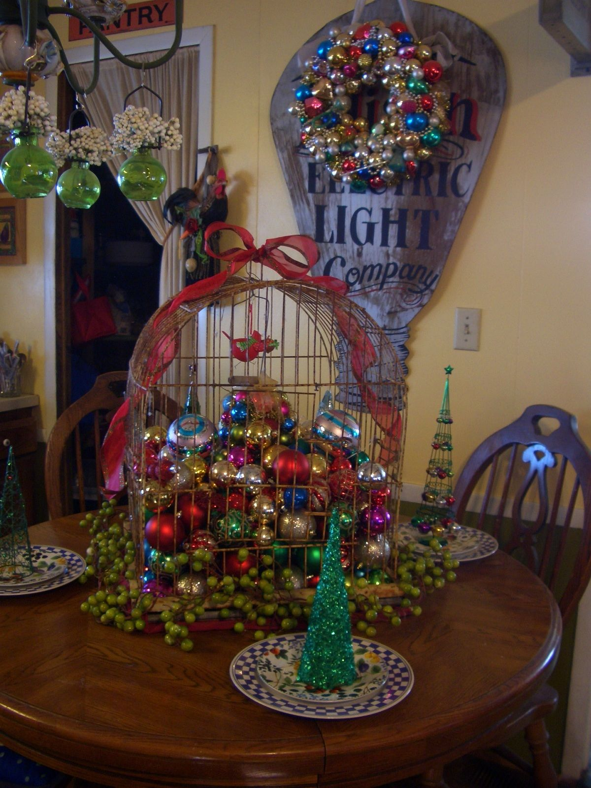 christmas birdcage and ornaments