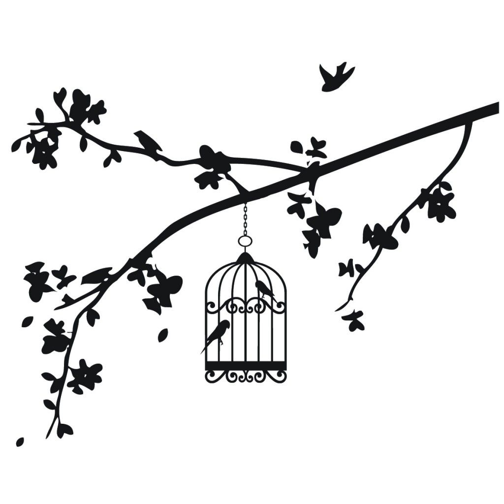 Black And White Drawings Of Bird Birdcage And Branches