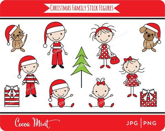Christmas Family Stick Figures Clip Art Christmas Projectsideas