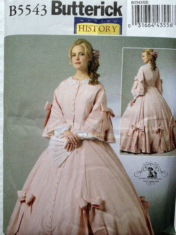 NEW Butterick 5543 Civil War Dress Ball Gown Costume, Sizes 14-16-18 ...