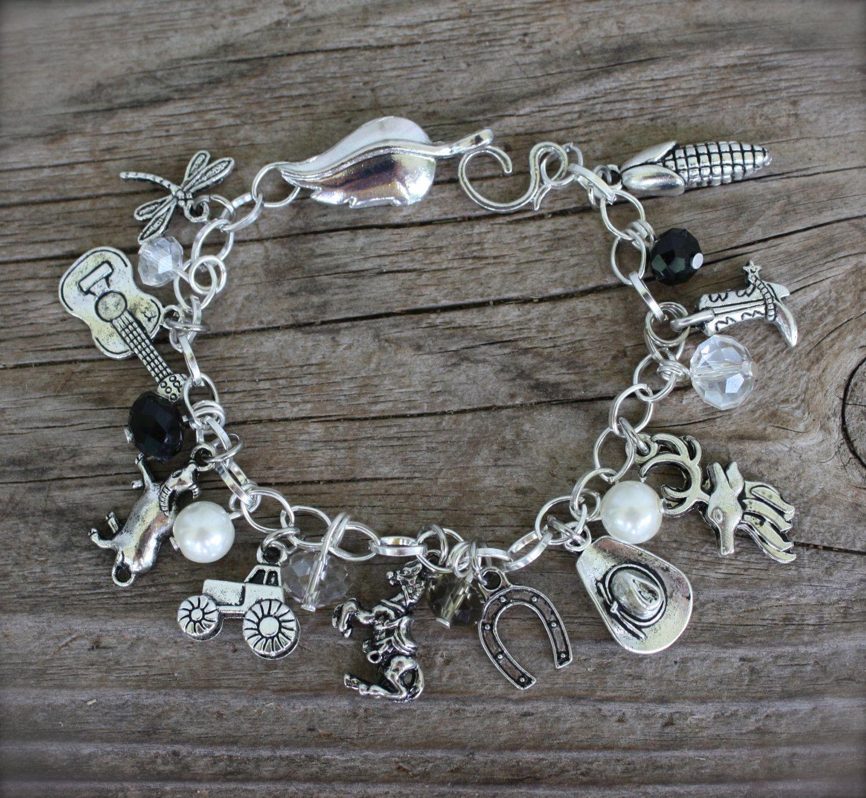 Cowgirl Country Girl Charm Bracelet Western Custom