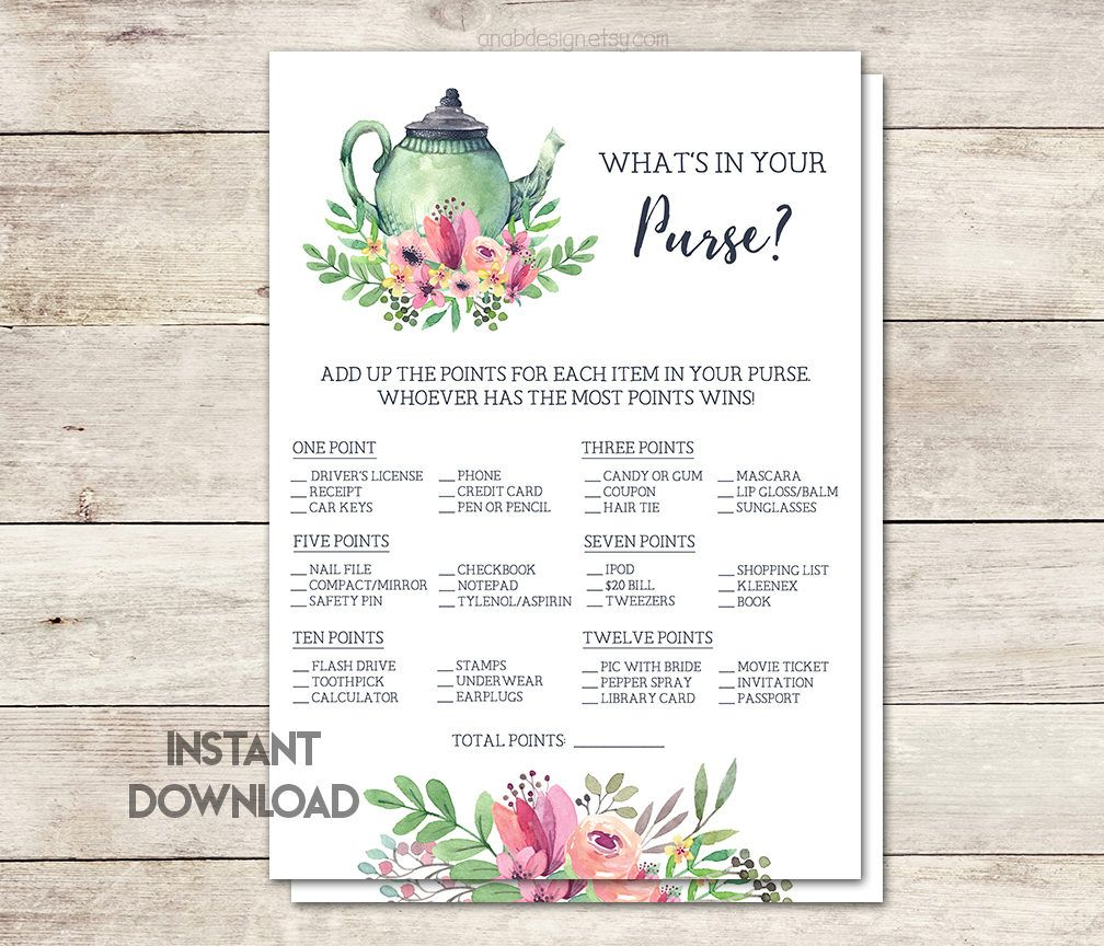 whats in your purse bridal shower game tea party bridal shower tea party theme