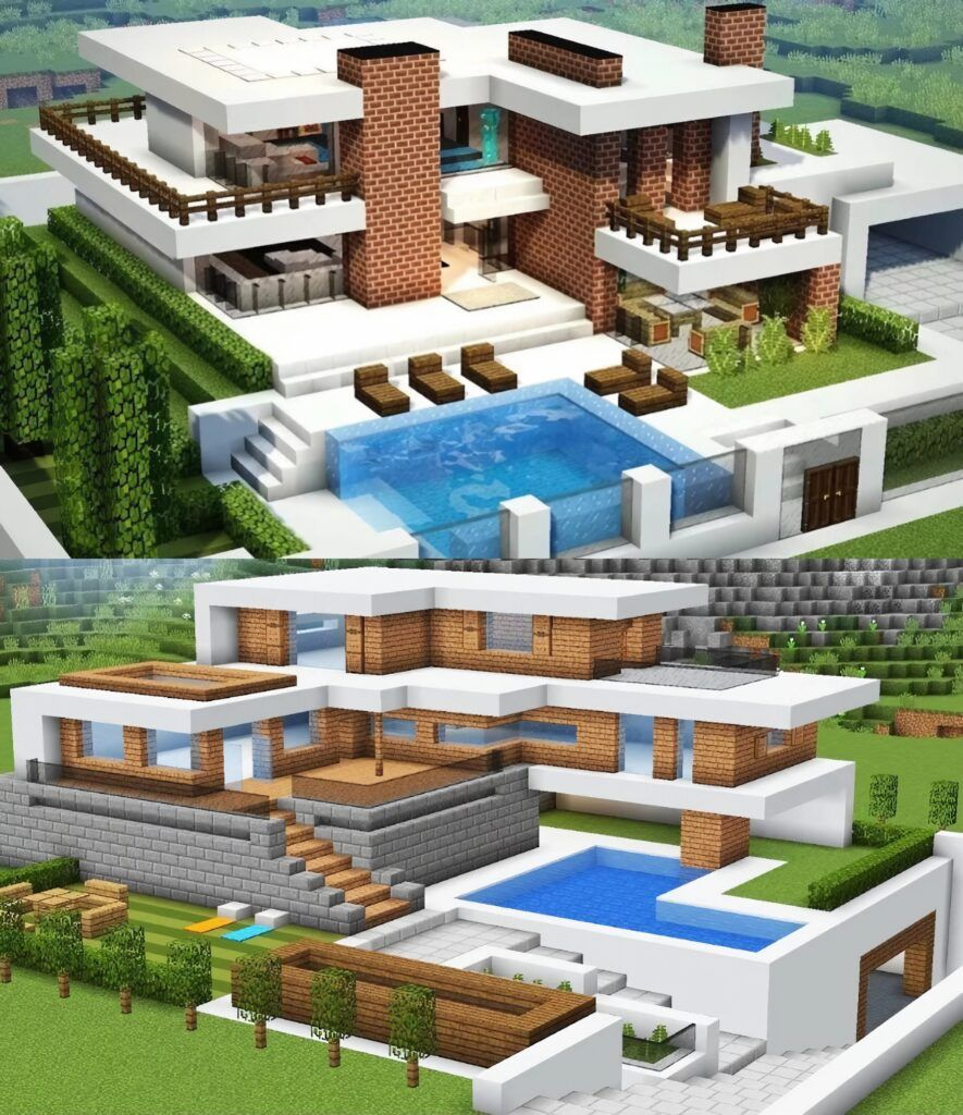 Modern House in 2020 | Cute minecraft houses, Minecraft ...