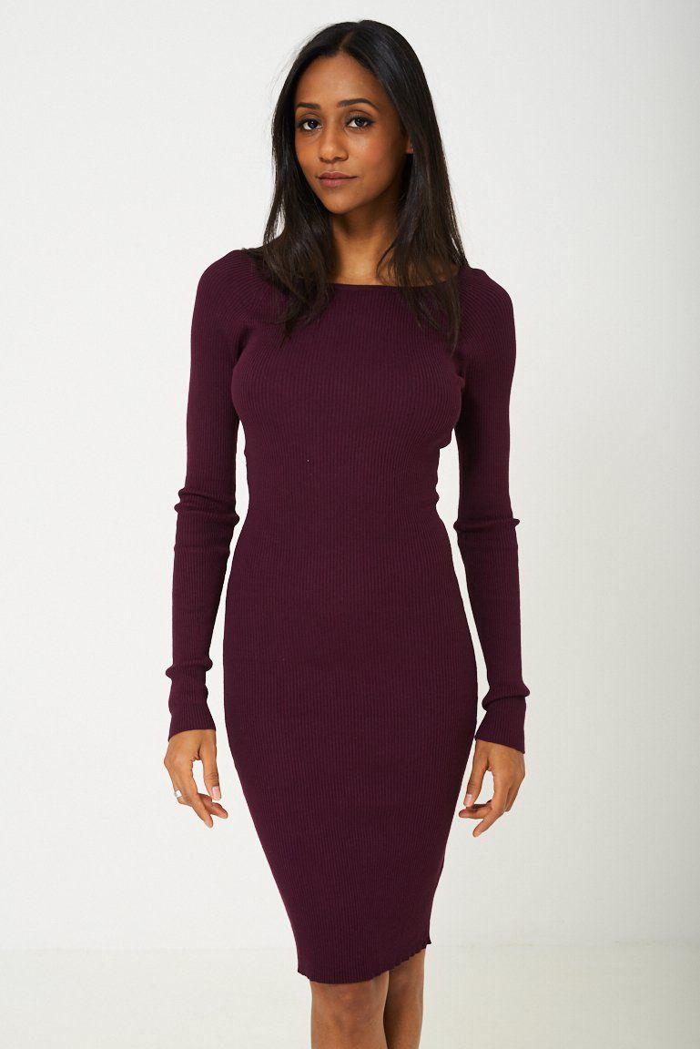 Bodycon jersey dress in burgundy dresses jersey dress