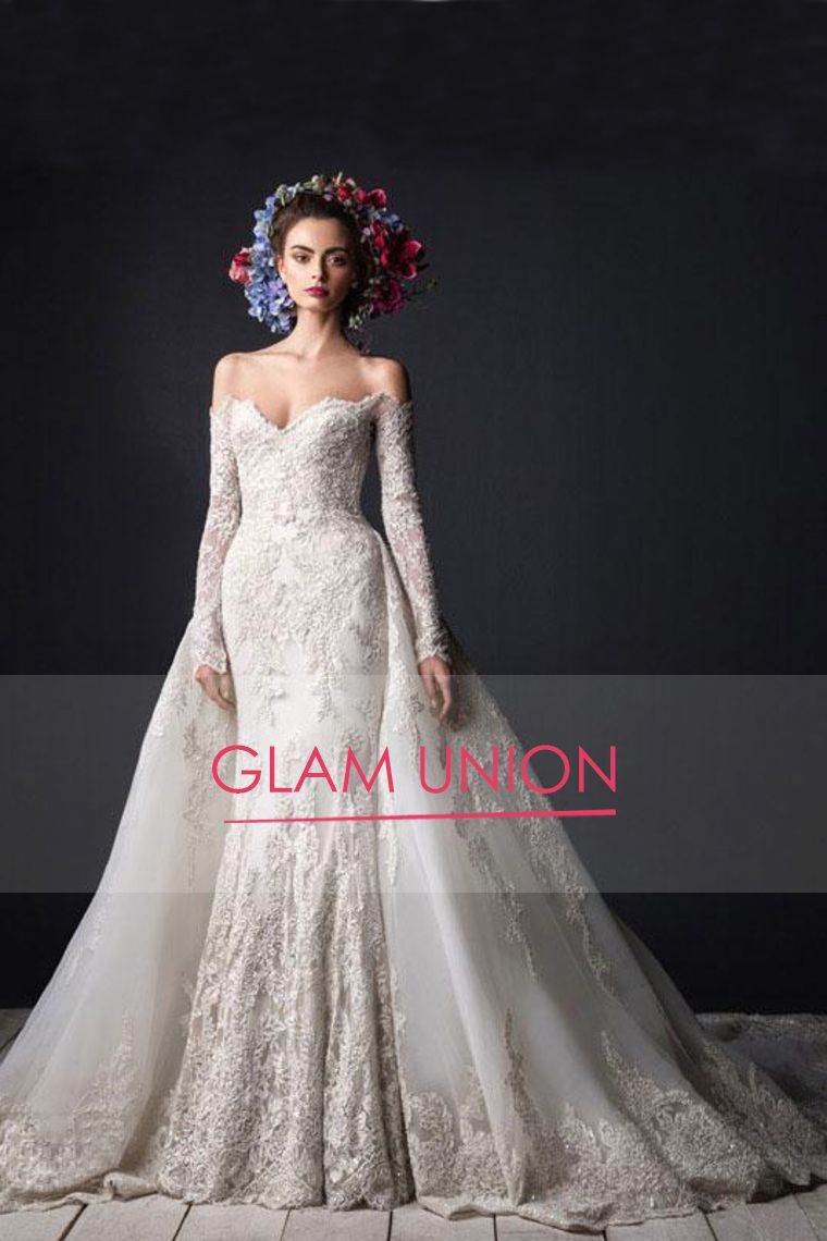 2017 Boat Neck Long Sleeves Wedding Dresses Tulle With Applique Chapel US$ 419.99 GUPSRJMRPD - GlamUnion.com