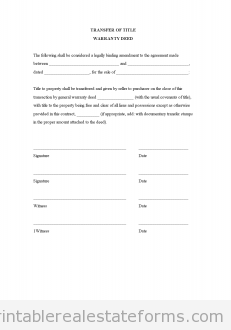 Sample Warranty Deed Form | Free Transfer Of Title Warranty Deed Printable Real Estate Document