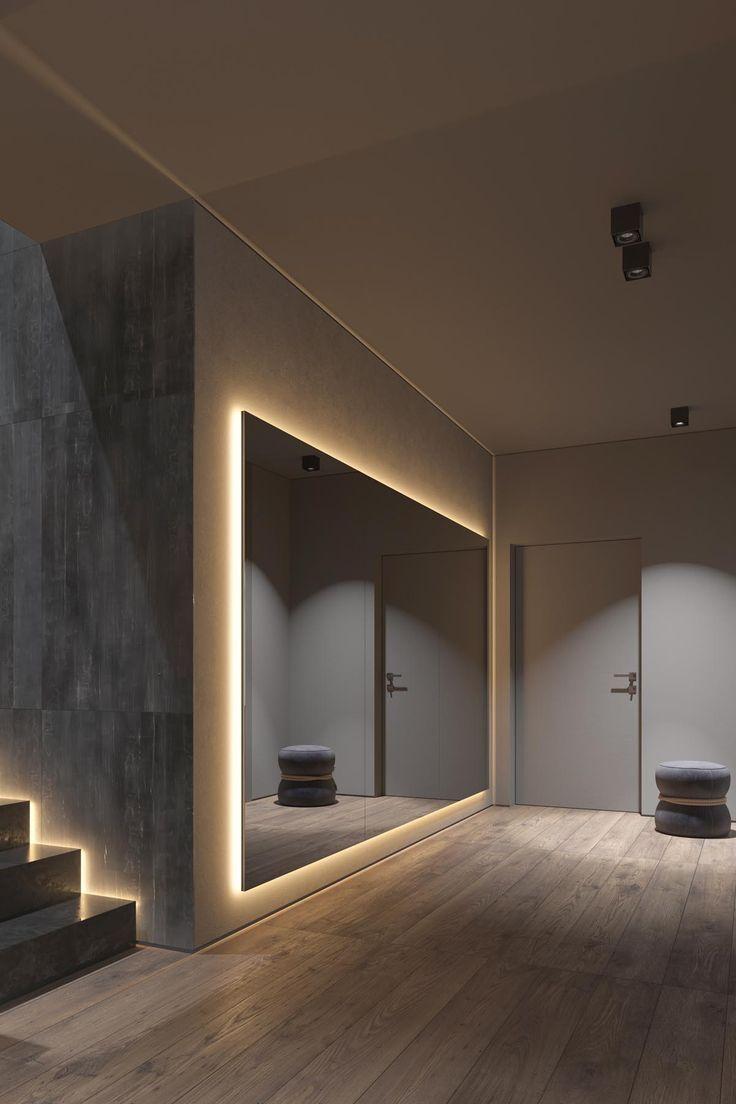 Dunkelgraue Wohnkultur Mit Warmer Led Beleuchtung Dunkelgrau Interior Le Huge Mirror Grey Home Decor Warm Home Decor