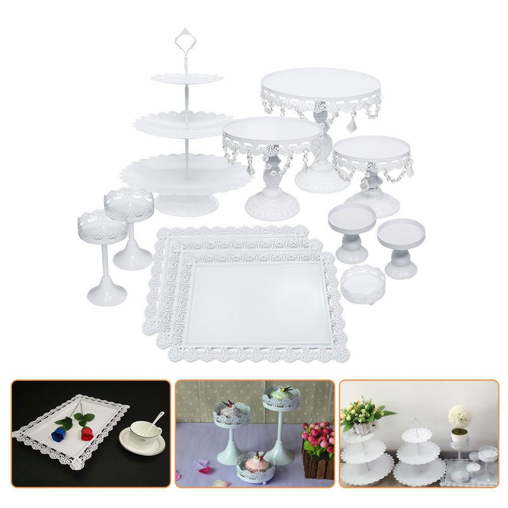 Pcs white metal wedding cake stand cupcake holder plate set lace