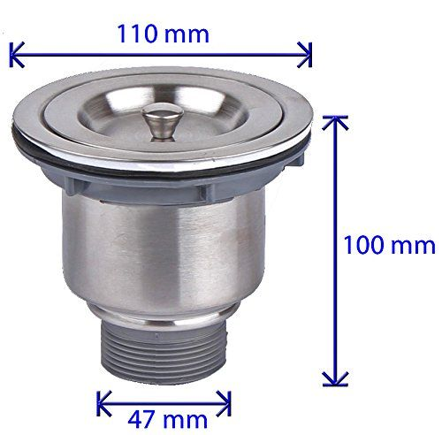 Fluxe 3.5 Inch Stainless Steel Deep Waste Basket Kitchen Sink Drain Strainer  Assembly With Sealing Lid
